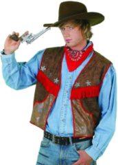 Blauwe Partylook Cowboyvest wasleder Maat 58