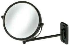 Zwarte Geesa Mirror Collection scheerspiegel 1-armig normaal en 3x vergrotend Ø20cm zwart 91108506
