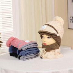 Knaak 3-1 Muts - Sjaal - Mondkap - Wol - Warm - One Size - Bruin/Crème