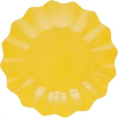 Merkloos / Sans marque 8x Diepe kartonnen bordjes geel 21 cm - Wegwerpborden van karton - Feestbordjes - Feestartikelen tafeldecoratie