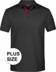 James & Nicholson Grote maten polo shirt Golf Pro premium zwart/rood voor heren - Zwarte plus size herenkleding - Werk/zakelijke polo t-shirts 3XL