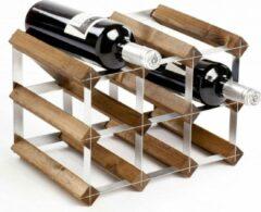 Bruine Traditional wine rack co Sorrells Wijnrek - 23 x 32 x 23 cm - 9 flessen - Dark oak