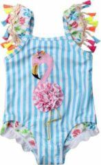 Turquoise Merkloos / Sans marque Babybadpak - Maat 80 - Flamingo - Kinderbadpak - Zwembroek - Badpak - Babyzwemmen - Kraamkado