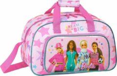 Roze Barbie sporttas 40cm met 2 vakken