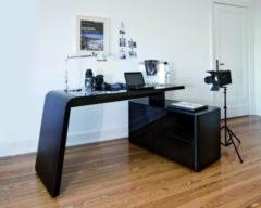Cats Collection Eck-Schreibtisch schwarz matt Schwarzglas