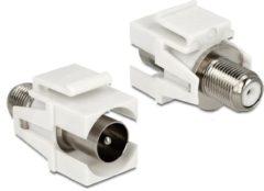 Delock Keystone F-connector vrouwelijk - verzonken Coax mannelijk module wit