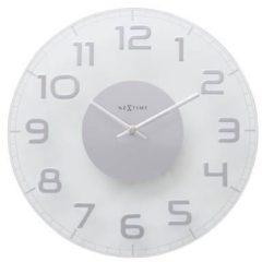 NeXtime Classy Round - Wandklok - Rond - Glas en metaal - Stil uurwerk - Ø 30 cm - Transparant