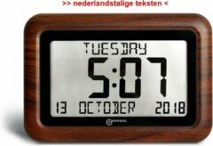 GEEMARC VISO10 digitale JUMBO kalender klok met onverkorte dag / datum / tijdweergave - Hout