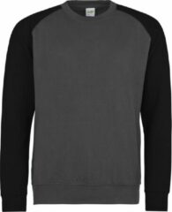Zwarte AWDis Just Hoods Baseball sweatshirt, Kleur Charcoal/ Jet Black, Maat M