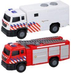 Rode Brandweerwagen met Friction, Licht en Geluid - GearBox