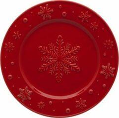 Kerst Servies Snowflakes Rood - Set van twee borden 22 cm - Bordallo Pinheiro