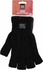 HEAT KEEPER Zwarte vingerloze thermo handschoenen/mofjes voor heren - Warme gebreide handschoenen vingerloos/zonder vingers voor volwassenen S/M