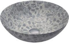 Grijze Looox Ceramic Terrazzo Opzetkom Ø 40x15 cm Grey WWK40TG