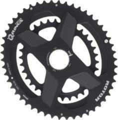 Zwarte Rotor Aldhu Direct-Mount Dubbel Kettingblad ovaal, black matte Uitvoering 52/36T