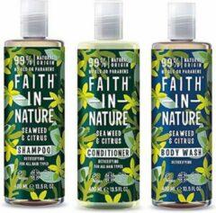 Faith in nature seaweed en citrus shampoo, conditioner en bodywash