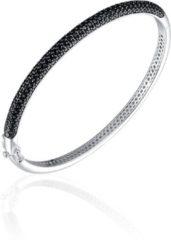 Jewels Inc. - Armband - Bangle Half Bol gezet met Zwart Zirkonia - 4mm Breed - Maat 56 - Gerhodineerd Zilver 925