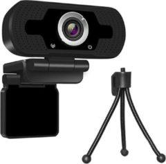 Zwarte Merkloos / Sans marque Webcam met een Tripod voor PC - Thuiswerken - vergaderingen- YouTube - Full HD 1080- Ruisonderdrukking - Plug and Play