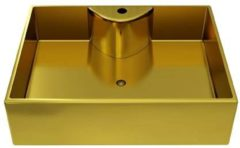 VidaXL Wastafel met kraangat 48x37x13,5 cm keramiek goudkleurig