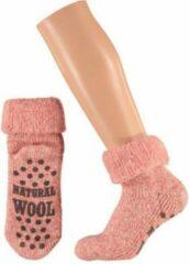 Merkloos / Sans marque Wollen huis sokken voor dames roze 39-42
