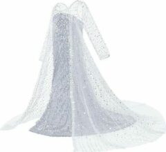 Witte Prinsessenjurk.nl Frozen 2 Elsa pailletten jurk met sleep - 110/116 (120) 5-6 jaar - prinsessenjurk verkleedkleedje