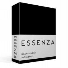 Zwarte Essenza Satin Hoeslaken - 100% Katoen-satijn - 1-persoons (90x210 Cm) - Black