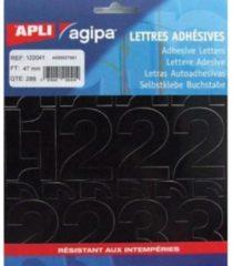 Zwarte Agipa etiketten cijfers en letters letterhoogte 47 mm, 286 cijfers