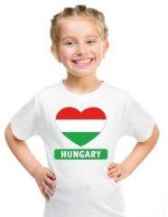 Shoppartners Hongarije kinder t-shirt met Hongaarse vlag in hart wit jongens en meisjes S (122-128)