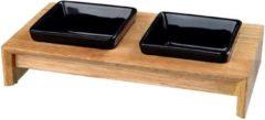 Trixie voerset keramiek met houten onderstel zwart 200 ML 28X15X5 CM