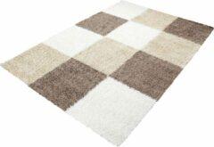 Decor24-AY Hoogpolig vloerkleed Life - bruin, beige, wit - 80x250 cm
