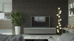 Maxima House VIGO I Zwevend TV Meubel - TV Meubel Hoogglans grijs / wit - TV Kast Meubel - Modern Design - 30x180x40 cm