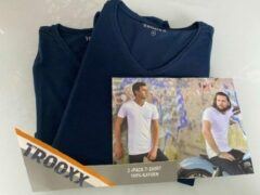 Marineblauwe Trooxx T-shirt 3x 2 pack, 6 stuks - V- Neck - Kleur: Navy - Maat: M