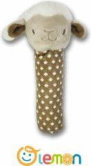 Bruine Pluche knuffels/ baby speelgoed 0 jaar/ babyborn/ Baby Lemon hand-zwengelen/Baby Speelgoed Cartoon Dier Hand-Zwengelen/baby cadeau/ baby shower/ schaap