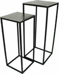 Zwarte SVJ Home Decorations Mensa Tafelset - L30 x B30 x H70 cm - Robuust - Zilver