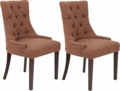 Luxe Comfort Eetkamerstoelen - Stoelen set van 2 - Stof - Antiek bruin
