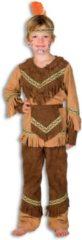 Bruine Fashion4fun Indiaan Kostuum | Heldhaftige Havik Indiaan Nebraska Kind Kostuum | Maat 116 | Carnaval kostuum | Verkleedkleding