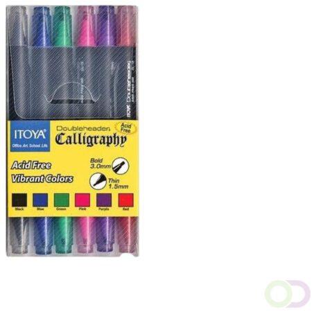 Afbeelding van Kalligrafiepen Itoya CL10 1.5 én 3.0mm penpunt set à 6 basis kleuren