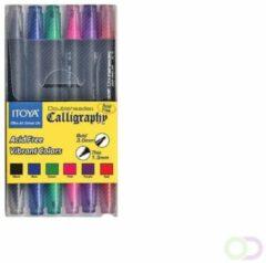 Kalligrafiepen Itoya CL10 1.5 én 3.0mm penpunt set à 6 basis kleuren