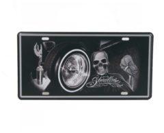 Zwarte Vintage art Retro Wandbord – Showtime doodshoofd bord – Skullart - doodskop - Vintage bord - Muur Decoratie - Metalen bord - Emaille Reclame bord - Wandborden - Mancave Decoratie - Garage - Bar - Cafe - Restaurant Style