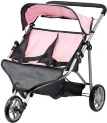 Mini Mommy poppenbuggy tweeling roze/grijs 65 x 48 x 56 cm