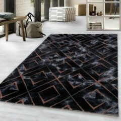 Impression Nano Design Laagpolig Vloerkleed Zwart Brons - 80x150 CM