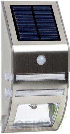 Afbeelding van Zilveren Velleman Solar Zonne-Energie - Wandlamp - Buitenverlichting - INOX - LED - 78 x 170 x 50 mm - 0.33 W - met PIR-sensor