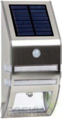 Zilveren Velleman Solar Zonne-Energie - Wandlamp - Buitenverlichting - INOX - LED - 78 x 170 x 50 mm - 0.33 W - met PIR-sensor