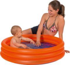 Merkloos / Sans marque Oranje opblaasbaar zwembad baby badje 100 x 23 cm speelgoed - Rond zwembadje - Babybadje - Douchecabine badje - Pierenbadje - Buitenspeelgoed voor kinderen
