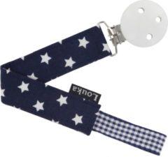 Louka speenkoord donkerblauw met witte ster de luxe - houten clip
