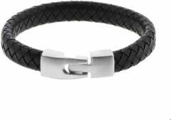 Zilveren The Jewelry Collection For Men Armband Leer 11 mm 21,5 cm - Staal