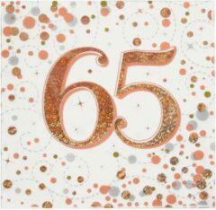Roze Oaktree UK Servetten 65 jaar Rose Gold (16 stuks)