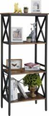 VASAGLE boekenkast met 4 legborden in industriële uitvoering, ladderrek met metalen frame, voor woonkamer, kantoor, vintage, donkerbruine