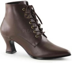Bruine Funtasma EU 40 = US 10 | VICTORIAN-35 | 2 3/4 Kitten Heel Front Lace Up Ankle Boot
