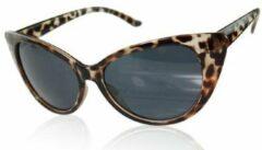 Hidzo Zonnebril Cat Eye Luipaard - UV 400 - Zwarte Glazen