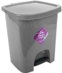 Zilveren Hega hogar Grijze pedaalemmer vuilnisbak/prullenbak 6 liter 21 x 23 x 29 cm - Kunststof/plastic vuilnisemmer- Dameshygiene afvalbak voor toilet/badkamer